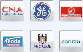 Logotipos de algumas das grandes empresas que anunciam vagas de destaque na Curriculum.